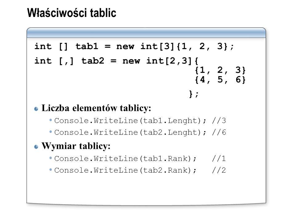 Właściwości tablic int [] tab1 = new int[3]{1, 2, 3};
